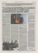 "The KEMLg group is featured in La Vanguardia's ""Catalunya TIC Innova"" section, on Monday February 27 2012"